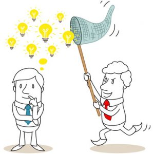 Geschäftsmann, viele Ideen, Ideenklau